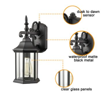 Industrial Outdoor Dusk to Dawn Wall Lights Clear Glass Shade with Sensor