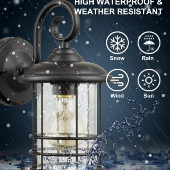 Industrial OutdoorIndoor Lantern Wall Sconces Clear Seeded Glass Shade