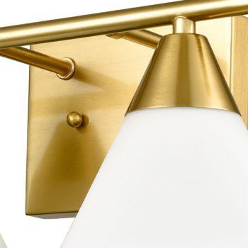 Modern Brass 2-Light Vanity Light for Bath with Opal Glass