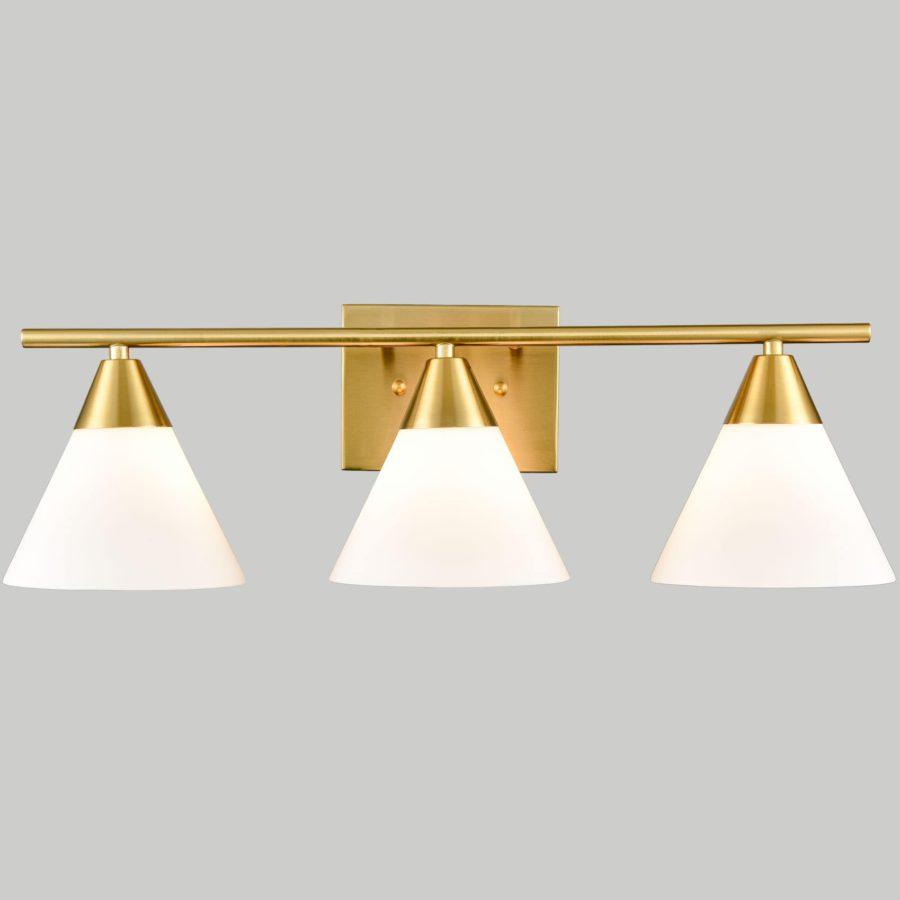 Modern Brass 3-Light Vanity Light for Bathroom Opal Glass