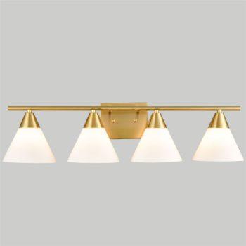 Modern Brass 4-Light Vanity Light for Bathroom Opal Glass