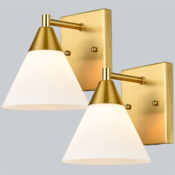 Modern Brass Wall Scones Set of 2 with Cone Opal Glass