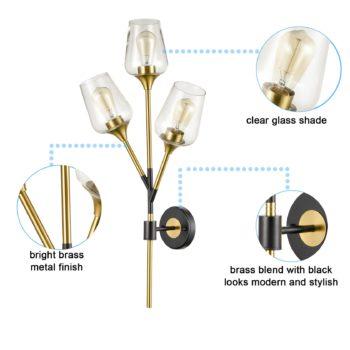 Modern Clear Glass Wall Sconces Brass Bathroom Vanity Lighting
