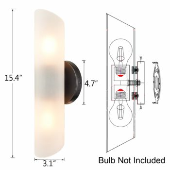 Modern Wall Sconces Set of Two with Frosted Glass