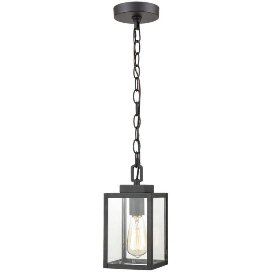Outdoor Pendant Hanging Light Exterior Lantern Matte Black
