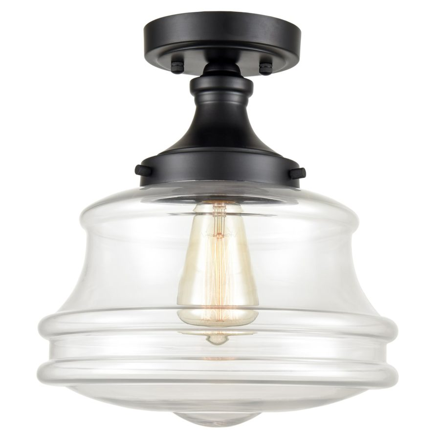 Black Glass Industrial Semi Flush Mount Ceiling Light for Hallway