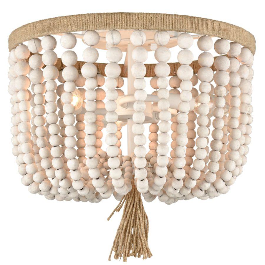 Farmhouse Ceiling Light Wood Beads 3-Light Flush Mount Chandelier