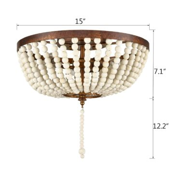 Farmhouse Flush Mount Ceiling Light 15 Inches Rusty Red Wood Bead