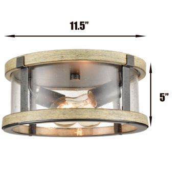 Farmhouse Flush Mount Ceiling Light Seeded Glass Shades Drum 2-light