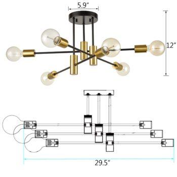 Industrial Semi Flush Mount Ceiling Light Black Sputnik Chandelier