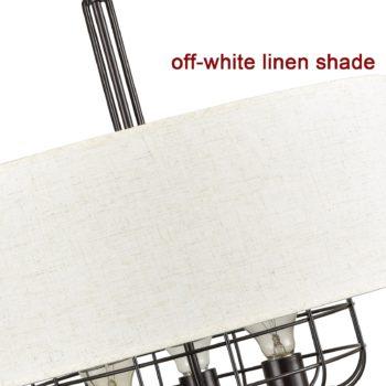 Farmhouse Drum Chandelier Off White Linen Shade 3 Lights