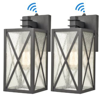 Black Outdoor Wall Sconce Lighting Dusk to Dawn Outdoor Lights 2 Pack
