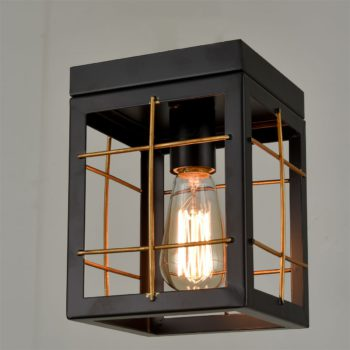 Farmhouse Black Flush Mount Ceiling Light Brass Fixture