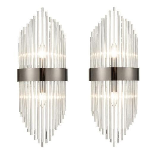 Brass 2 Pack Clear Glass Wall Sconces Industrial Bathroom