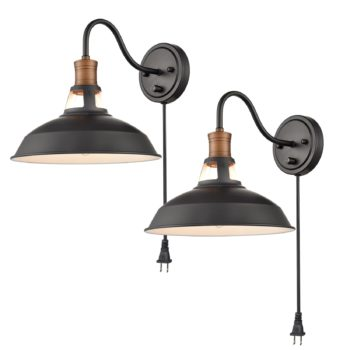 Industrial Plug in Wall Sconce Black Barn Hardwired Wall Lights 2 Sets